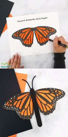 This easy and fun butterfly stick puppet is the perfect craft for celebrating the September migration of the monarch butterfly. Not only is this interactive craft fun to color and make, but it's fun to play with too—the wings really flutter in the air! Popsicle Stick Crafts, Craft Stick Crafts, Preschool Crafts, Insect Crafts, Bug Crafts, Butterfly Crafts, Monarch Butterfly, Summer Crafts, Fall Crafts