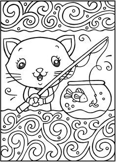 SPARK Cool Cats Coloring Book sample pages @ Dover Publications Cat Coloring Page, Colouring Pics, Animal Coloring Pages, Coloring Book Pages, Printable Coloring Pages, Free Coloring, Coloring Pages For Kids, Coloring Sheets, Mermaid Coloring