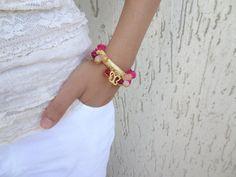 Fuchsia Turkish Silk BraceletGold by sevinchjewelry on Etsy, $30.00