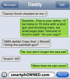 I don't know if this is real (aren't the green bubbles supposed to be from the person typing?) but it's still funny & if a dad was like this he'd be the coolest dad ever.