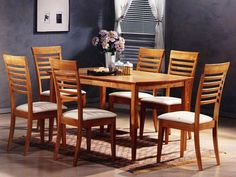 Gracie 6 Seater Wooden Dining Table With Chairs