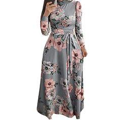 JPOQW-winter Women Long Sleeve Dress Rose Flower Printing Slim Boho Maxi  Casual Holiday Long ef20f8298