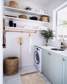 Laundry storage doesn't have to be fussy. We're loving this open shelving and handy hanging rail. An organised laundry is one with flexible storage options. Renovation Plan, Architecture Renovation, Küchen Design, Home Design, Interior Design, Interior Colors, Interior Plants, Planer Layout, Laundry Room Inspiration