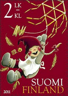 Finland stamp 2011 - Kaarina Toivanen, second class Christmas stamp Scandinavian Gnomes, Scandinavian Christmas, Noel Christmas, Vintage Christmas, Going Postal, Postage Stamp Art, Thinking Day, Love Stamps, Fauna