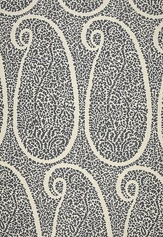 'Ambala Paisley' in Ash. 63% Linen - 37% Cotton, from Schumacher Fabric