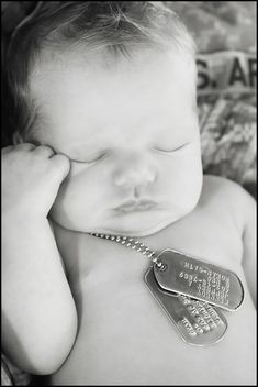Newborn military baby tough guy with dog tags. Sweet photo idea