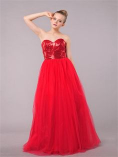 Red A-line Strapless Sweetheart Sequined Tulle Prom Dress PD1144
