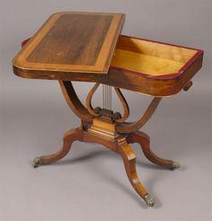 Regency Lyre-base Folding Card Table, England c. 1810