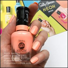 Sally hansen peach please 051 - sally hansen neon collection summer 2019 Neon Nail Colors, Neon Nails, Grey Nail Designs, Peach Nails, Sally Hansen Nails, Nail Design Video, Summer Nails, Manicure, Nail Polish