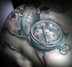 Shoulder Compass And World Map Tattoo For Men