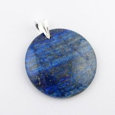 Blue Lapis Gemstone Large Circle Pendant Rubber Cord Necklace Sterling Silver Bail 20 Inch Pendants by Joyful Creations. $18.99