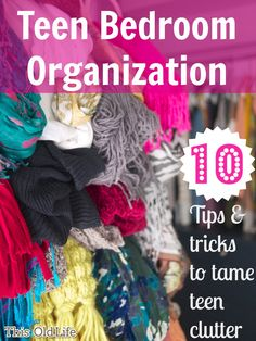 Actual solutions to the question of how and where to store teen-age girl stuff from This (sorta) Old Life. Bedroom organization for teenager, great storage idea! Teen Bedroom Organization, Teen Bedroom Makeover, Organization Ideas, Bedroom Makeovers, Just In Case, Just For You, Teenage Girl Bedrooms, Girl Rooms, Diy