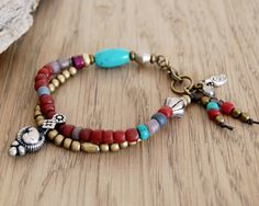 RESERVED LISTING - two layer bohemian bracelet and turquoise bracelet with copper charms