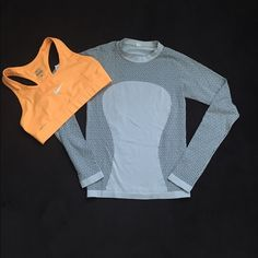 Lululemon Logo Top Xs Nike Sport Bra Small Bundle Long sleeve lululemon top size xs. The color is light gray and dark gray with logo print. Nike dri-fit bright orange sports bra size small. Both items in excellent used condition. Will sell separately upon request. Feel free to make an offer. lululemon athletica Tops Tees - Long Sleeve