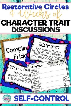Conduct restorative circles in your classroom with these ready to use templates that are full of questions, discussion topics and ideas that can be used during circle time. This product stems around the character trait of self-control and includes discuss