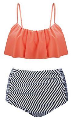 Angerella Vintage Stripe Bottom High Waisted Bikini Two Piece Swimsuit