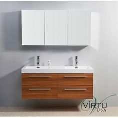 "Virtu Usa 54"" Finley Double Sink Bathroom Vanity With Polymarble Countertop…"