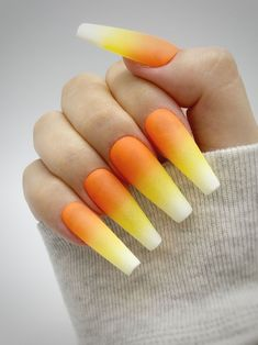 The pictures shown above are made with an L length coffin tip with a matte top coat. Besides the nailset that was ordered, each order comes with a nail prep kit that includes: Alcohol wipe, wooden cuticle pusher, nail file, nail buffer, glue, and a sheet of nail adhesive stickers. Be mindful that slight variations occurring between the actual color, and the representation on our website might differ. Every nailset is custom made so be aware there might be slight differences with the nail art. Halloween Press On Nails, Halloween Acrylic Nails, Cute Halloween Nails, Bling Acrylic Nails, Diy Nails, Swag Nails, Coffin Ombre Nails, Halloween Nail Designs, Spirit Halloween