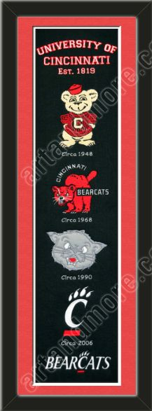 This framed University of Cincinnati heritage banner, double matted in team colors to 8 x 32 inches.  $119.99 @ ArtandMore.com