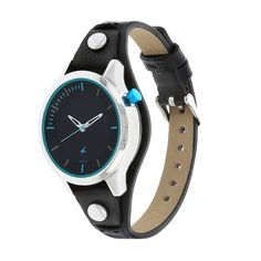 Black Dial Leather Strap Watch (6156SL01)