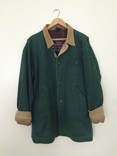 forest green utility / worker canvas jacket with corduroy