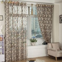 Les Baoyi Brand Curtain Window Screening Tulle Leaf Nature Modern Curtains For Living Room Garden Sheer