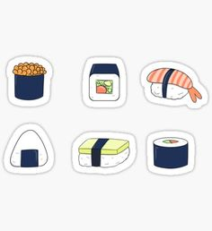 Pegatina pegatinas de sushi Stickers Cool, Cute Laptop Stickers, Food Stickers, Anime Stickers, Tumblr Stickers, Journal Stickers, Printable Stickers, Lisa Simpsons, Kpop Logos