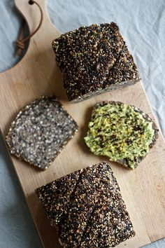 Seedy buckwheat bread (Gluten-free, vegan, has yeast. Buckwheat Bread, Buckwheat Recipes, Vegan Bread, Recipes With Buckwheat Flour, Buckwheat Muffins, Gluten Free Baking, Vegan Gluten Free, Gluten Free Recipes, Vegan Recipes