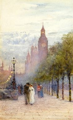 Rose Maynard Barton (1856-1929) - Houses of Parliament and Westminster (1892)