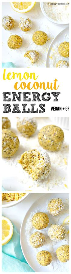 Lemon Coconut Energy Balls. VEGAN & GLUTEN FREE. Packed with superfoods like chia, hemp, maca and turmeric but tastes like lemon cookie dough. Amazing summer snack at the beach or on the go and takes 10 minutes to make. YUM! From The Glowing Fridge. #vega