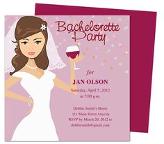 Bachelorette Party Invitations Templates: Bride to Be Honoree Bachelorette Party Invitation Template Design