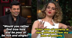 When Kangana Ranaut brought out the big sassy guns for her appearance on the show. 17 Times Celebs Were Absolutely Savage To Karan Johar On His Own Goddamn Show Funny Memea, Latest Funny Jokes, Hilarious, Funny Stuff, Bollywood Memes, Bollywood Celebrities, Cocky Quotes, Koffee With Karan, Arbaaz Khan