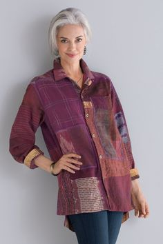 ee9d16b846b2 Pieced Shirt Jacket by Mieko Mintz . A classic design in pieced fabric  incorporating bold patterns