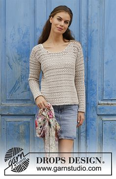 Miles Away - Crocheted jumper with lace pattern. Sizes S - XXXL. The piece is worked in DROPS Cotton Light. - Free pattern by DROPS Design Pull Crochet, Gilet Crochet, Crochet Jumper, Crochet Cardigan, Knit Crochet, Crochet Sweaters, Lace Patterns, Knitting Patterns Free, Free Knitting