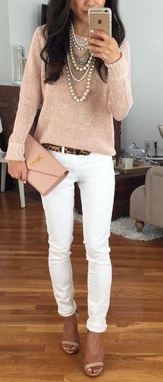 Blush pink and white