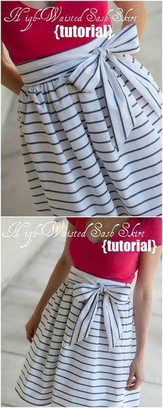 High Waisted Sash Skirt | DIY Skirts and Pants for Women