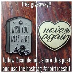 #Repost @camdenoir  what's up yall!! I dropped some new pins the other week which means a giveaway!! follow @camdenoir share this post and use the hashtag #noirfreeshit to win. doooo it.  #pins #pin #enamelpins #enamelpin #wishyouwerehere #tombstone #pingamestrong #patchcommand #patchgame #neveragain #grave #death #freegiveaway    (Posted by https://bbllowwnn.com/) Tap the photo for purchase info. Follow @bbllowwnn on Instagram for great pins patches and more!