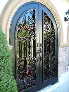 Beautiful Front Door With Faux Wrought Iron Door Insert