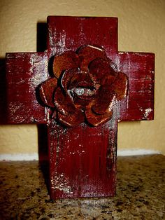 Hey, I found this really awesome Etsy listing at https://www.etsy.com/listing/130351242/wall-wood-cross-with-iron-rusty-rose