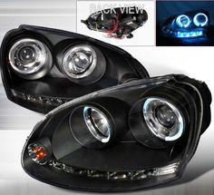Euro style angel eye projector headlights with dual lighted halos - Volkswagen Jetta 2006 2007 2008