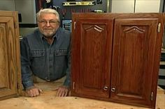 Watch Ron's easy to follow instructions on how to refinish a cabinet - perfect for redoing our kitchen cabinets from honey oak to mahogany color