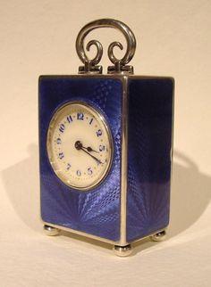 Miniature bleu silver clock from gudeantiqueclocks.com