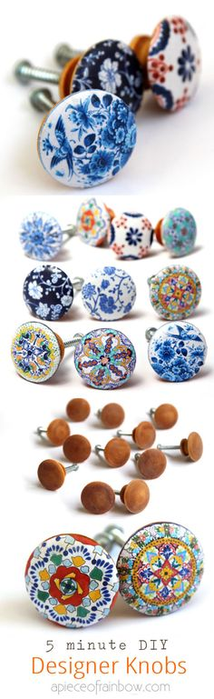 DIY Designer KnobsWhen I first saw these knobs, I was positive they were hand painted ceramic knobs. But these are paper printables glued onto wooden knobs using plastic cling wrap to get a smoother appearance. You have to provide an email address to...