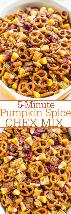 Pumpkin Spice Chex Mix - Two kinds of Chex peanuts pretzels dried cranberries and candy corn! Dangerously fast super easy and SO. Pumpkin Recipes, Fall Recipes, Holiday Recipes, Pumpkin Dishes, Snack Mix Recipes, Cooking Recipes, Snack Mixes, Candy Corn, Fall Candy