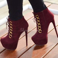 Shoespie Suede Lace-up Ankle Boots
