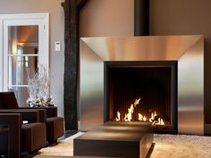 DS220 Open Gas Fire with Steel Surround