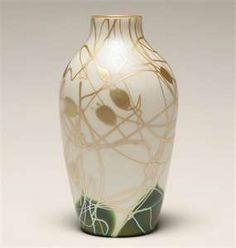 Steuben Green Gold Aurene Art Glass Vase