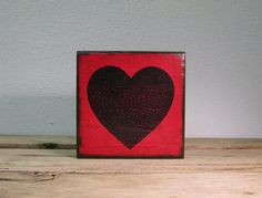 Red and Black Heart  Art Block As Seen On Guys With by MatchBlox, $29.00