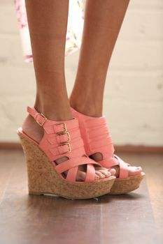 Spring high heel pink wedges fashion