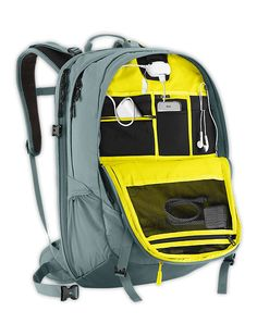Never worry about running out of battery at a long day at school, this high tech North Face backpack comes with a power supply that can hook up with your iPhone, MP3 layer, tablet, and all other USB devices.